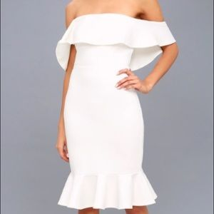 White Off the Shoulder Bodycon Dress